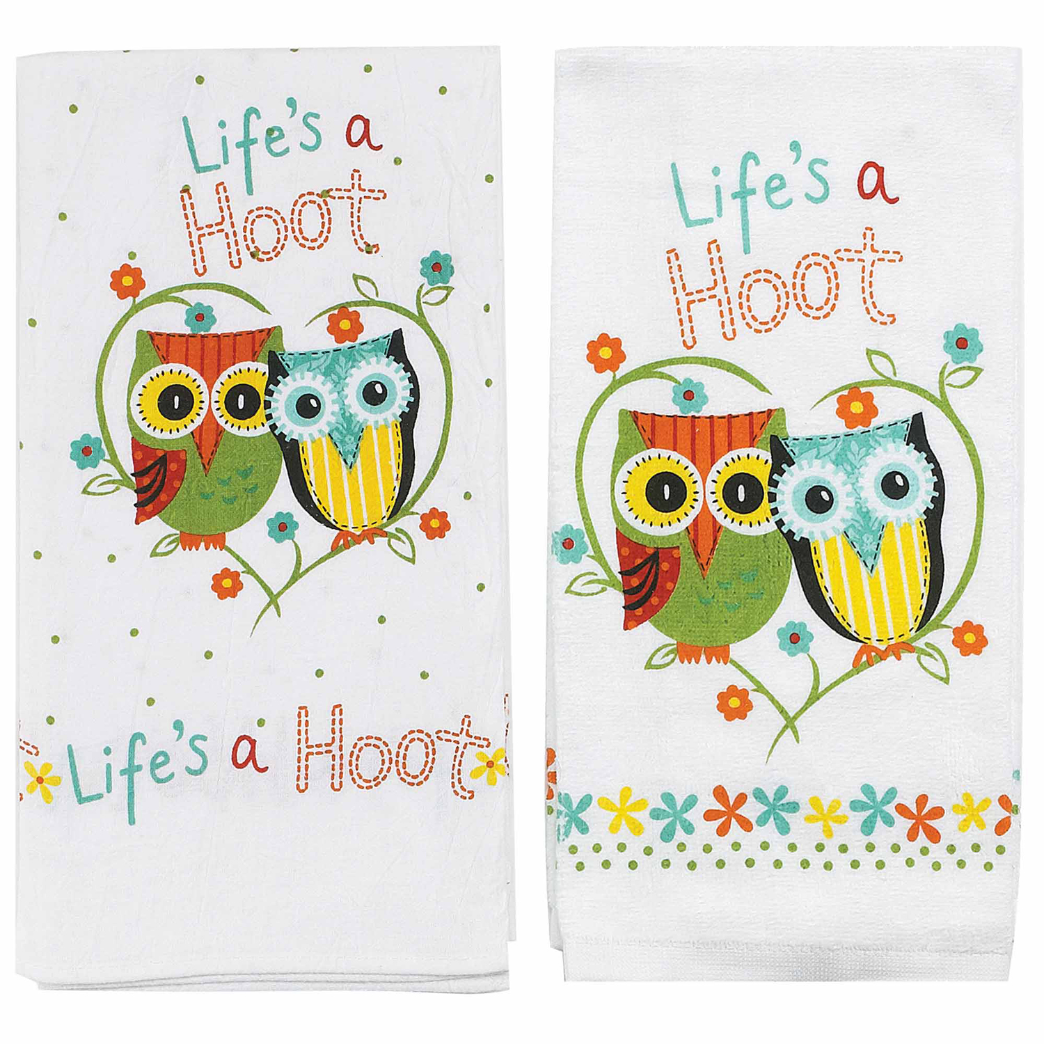 Kay Dee Designs Lifeu0027s A Hoot Terry Towel And Flour Sack, 2 Piece Set