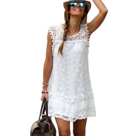 - Womens Summer Lace Mini Dress Short Sundress Beach Tank Dress Sleeveless Casual Party