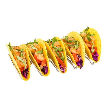 Taco Rack, Taco Stand, Taco Holder - Holds 4 Tacos, Hard or Soft Shell - Stainless Steel - 7.9 Inches - 1ct Box