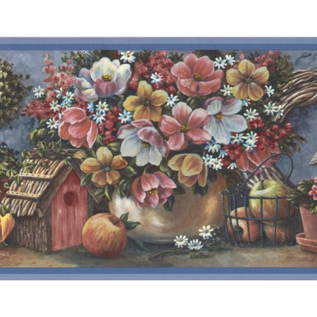 Pink Yellow White Flowers Fruits Birdhouse Extra Wide Wallpaper Border Retro Design, Roll 15' x 10.5'' - image 3 of 3