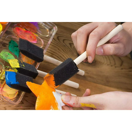 20-Pack Foam Paint Brush Set - 4 Different Sizes Poly Foam Sponge Brushes with Wooden Handles - Value Pack - Great for Acrylics, Oil Stains, Varnishes, Watercolor, Painting, Crafts, Art - image 2 de 7