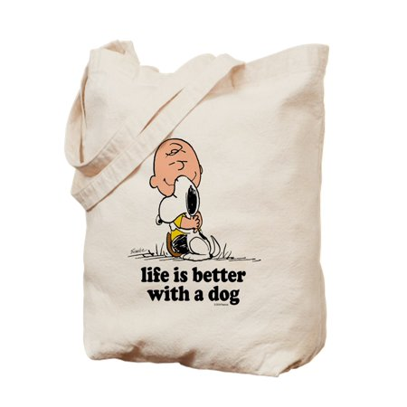 Charlie Brown: Life Is Better With A Dog - Natural Canvas Tote Bag, Cloth Shopping (Life Is Good Canvas Tote)