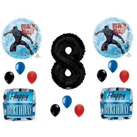 Black Panther Movie 8th Birthday Party Balloons Decorations Supplies