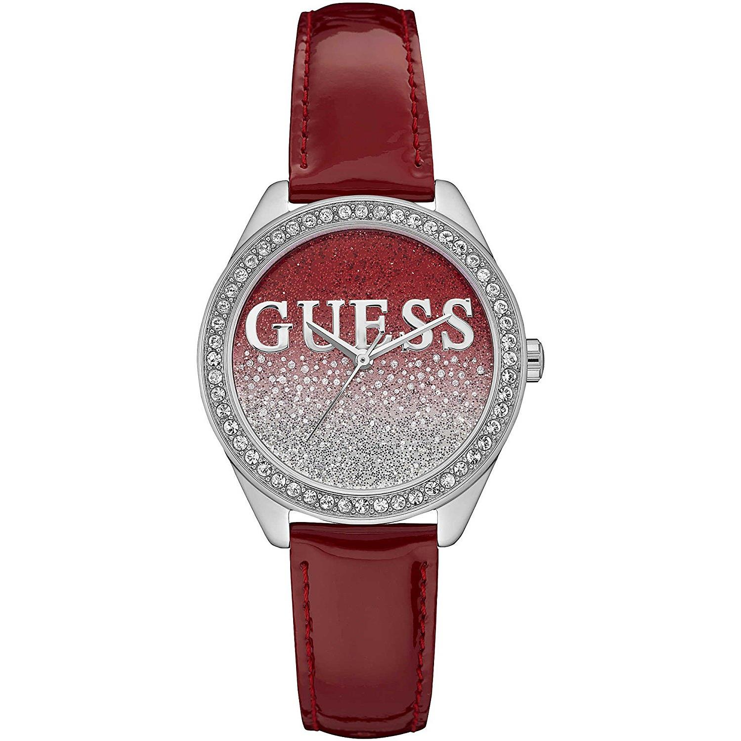 Guess Women's Glitter Girl 36mm Red Leather Band Steel Ca...