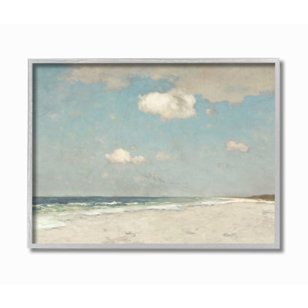 Stupell Industries Beach Landscape Neutral Blue Painting Framed Wall Art by Christy McKee