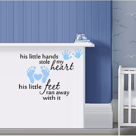 His little hands stole my heart Wall or Window Decal 20 x 24