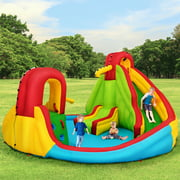 Inflatable Kids Water Slide Park with Climbing Wall Water Cannon and Splash Pool