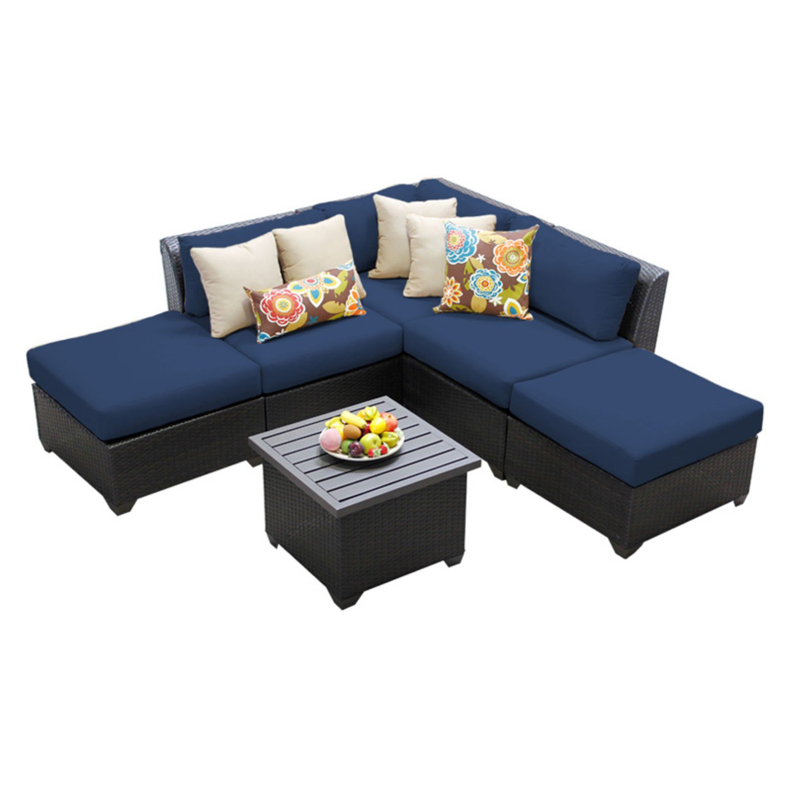 TK Classics Barbados Wicker 6 Piece Patio Conversation Set with End Table and 2 Sets of... by TK Classics