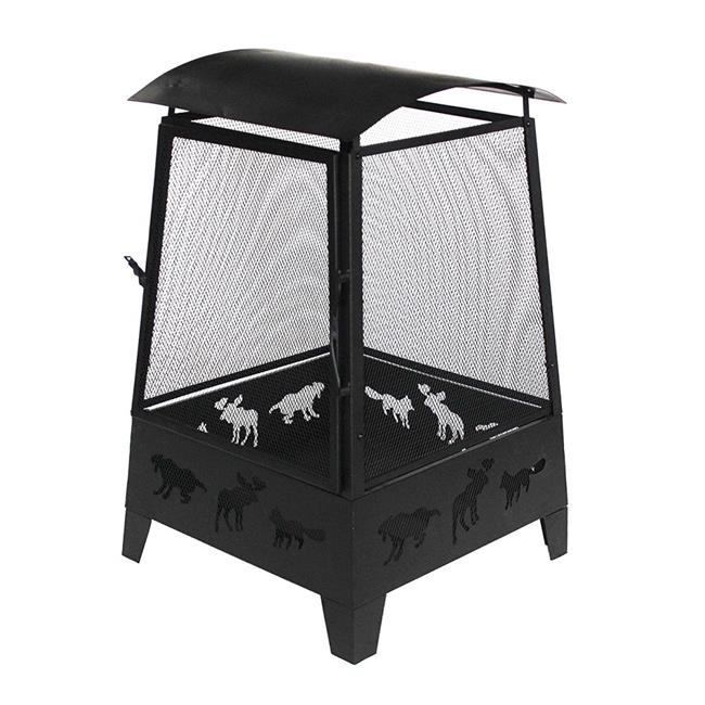 32 in. Steel Firepit Outdoor Fireplace with Spark Screen Mesh Lining & Laser Cut Animal Design, Black by TePee Supplies