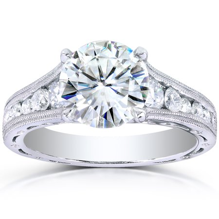 Half 2 Channel (Forever One (D-F) Moissanite & Channel Diamond Engagement Ring 2 1/2 CTW 14k White Gold )
