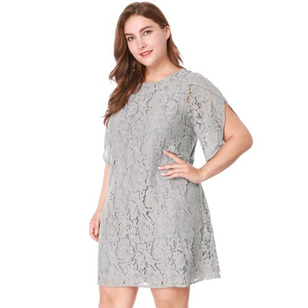 Women's Crew Neck Plus Size Tulip Sleeves Floral Lace Shift Dress Skirt