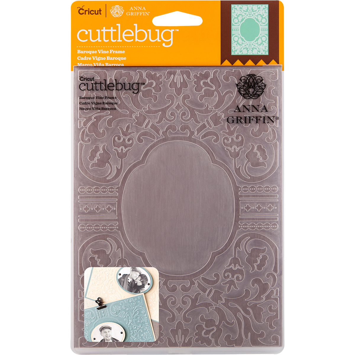 "Cuttlebug 5"" x 7"" Embossing Folder By Anna Griffin, Baroque Vine Frame"
