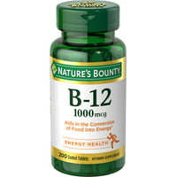Nature's Bounty Vitamin B-12, 1000 mcg, 200 Coated Tablets, Vitamin Supplement, Supports Energy Metabolism, Heart Health, and Nervous System Health*