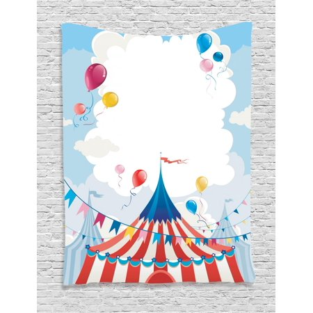 Circus Tapestry, Circus Day Canvas Tents Stratus Cloudy Summer  Entertainment Festive Season Theme, Wall Hanging for Bedroom Living Room  Dorm Decor,