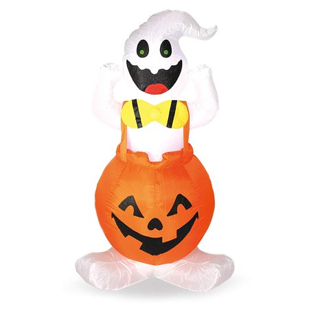 Halloween Blow-up Inflatable Ghost in Pumpkin Overall for Halloween Outdoor Yard Decoration (4 Foot Tall)