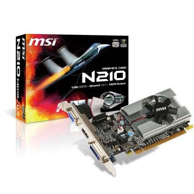 MSI N210-MD1G/D3 GeForce 210 1GB 64-bit DDR3 PCI Express 2.0 x16 HDCP Ready Low Profile Ready Video Card