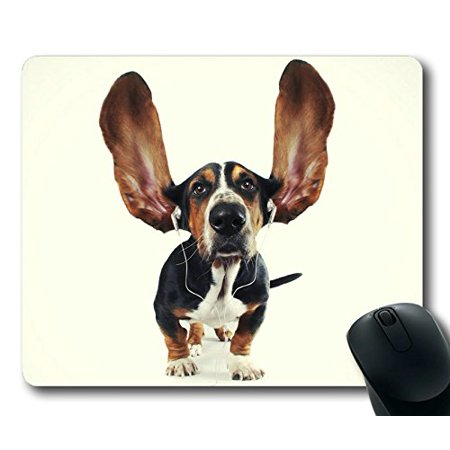 POPCreation Cute Dog with Earphone Animal Mouse pads Gaming Mouse Pad 9.84x7.87 inches