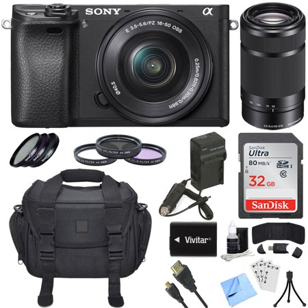 Sony Alpha a6300 ILCE-6300 4K Mirrorless Camera 16-50mm + 55-210mm Lens  Bundle includes a6300 Camera, 16-50mm + 55-210mm Zoom Lens, Filter Kits,  32GB