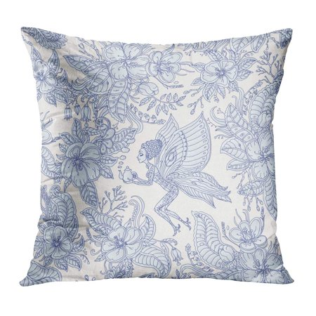 BOSDECO Floral Fairy Pattern Exotic Flowers Leaves Dark Indigo Blue Contour Thin Drawing Light Beige Fantastic Pillow Case Pillow Cover 18x18 inch - image 1 de 1