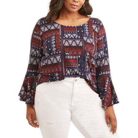 (Concepts Women's Plus Bell Sleeve Keyhole Top)