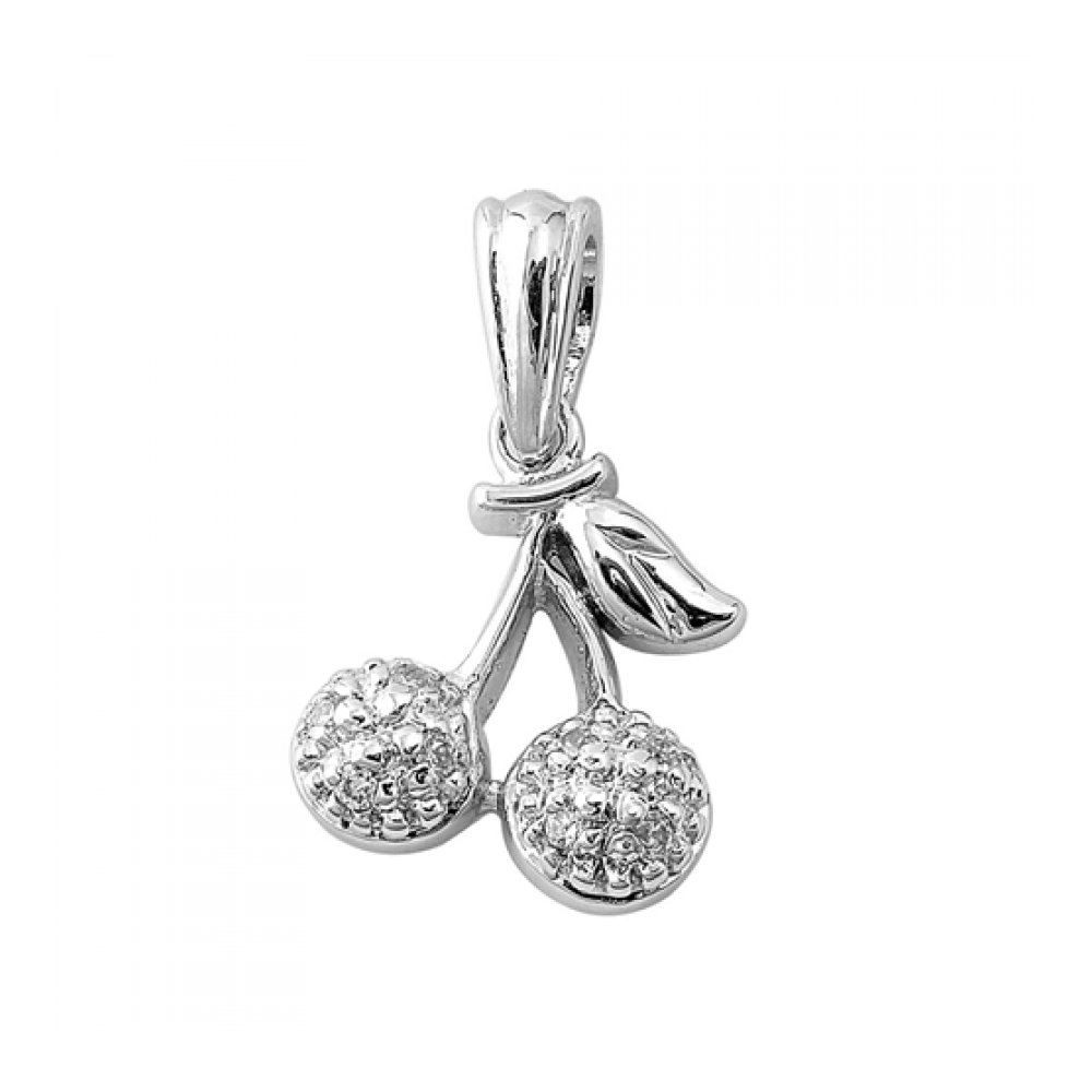 925 Sterling Silver Cherry Pendant With Cubic Zirconia