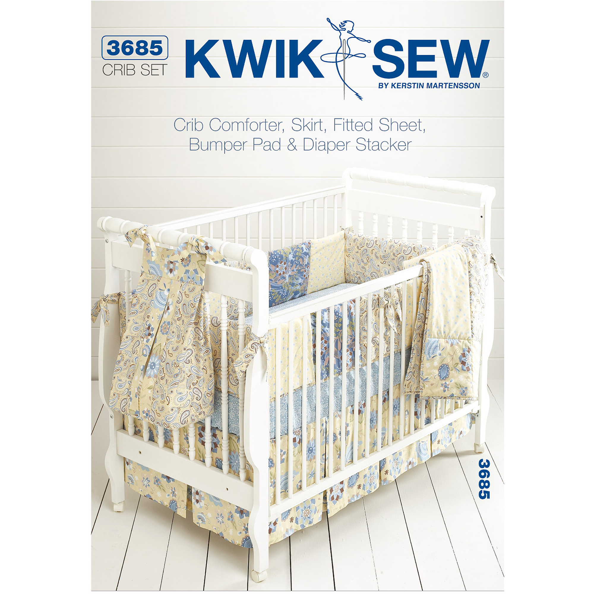 "Kwik Sew Pattern Crib Comforter, Skirt, Fitted Sheet, Bumper Pad and Diaper Stand, (Fits Cribs 28"" x 52"")"