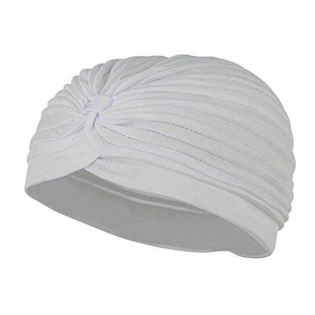 Jacobson Hat Co. Women's TURBAN Gypsy Head Dress Spandex Hat WHITE - Halloween Jacobson Park