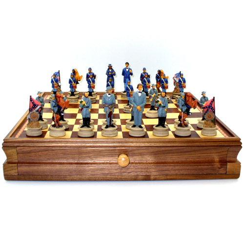 Royal Chess Civil War Chess Board Chest with Resin Chessmen 15 x 15 inches by Royal Chess