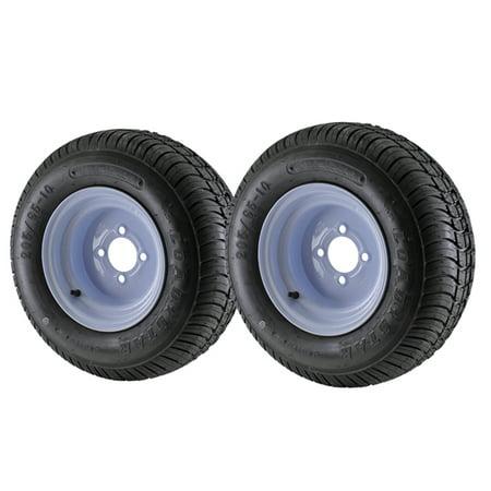 - 2 Pack - 20.5X8.00-10 Loadstar Trailer Tire LRC on 4 Bolt White Wheel