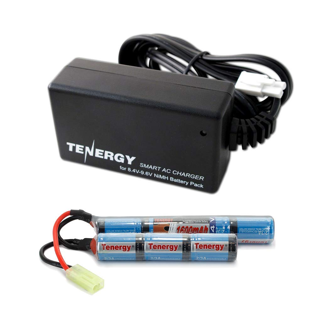 Tenergy 8.4V Airsoft Battery 1600mAh NiMH Nunchuck Battery w/ Mini Tamiya Connector for Airsoft Gun M4 Rifle + 8.4V-9.6V NiMH Battery Charger w/ Mini Tamiya Connector and Standard Tamiya Adaptor