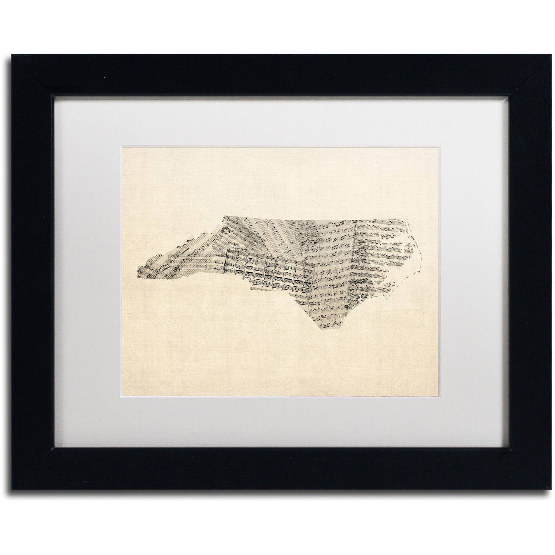 Trademark Fine Art 'Sheet Music Map of North Carolina' Canvas Art by Michael Tompsett, White Matte, Black Frame