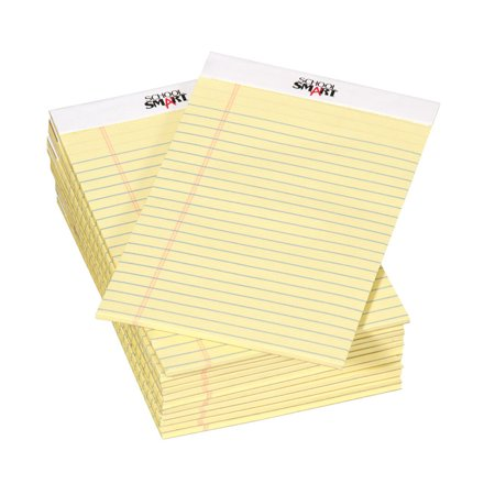 School Smart Junior Legal Pad, 5 x 8 Inches, 50 Sheets Each, Canary, Pack of 12