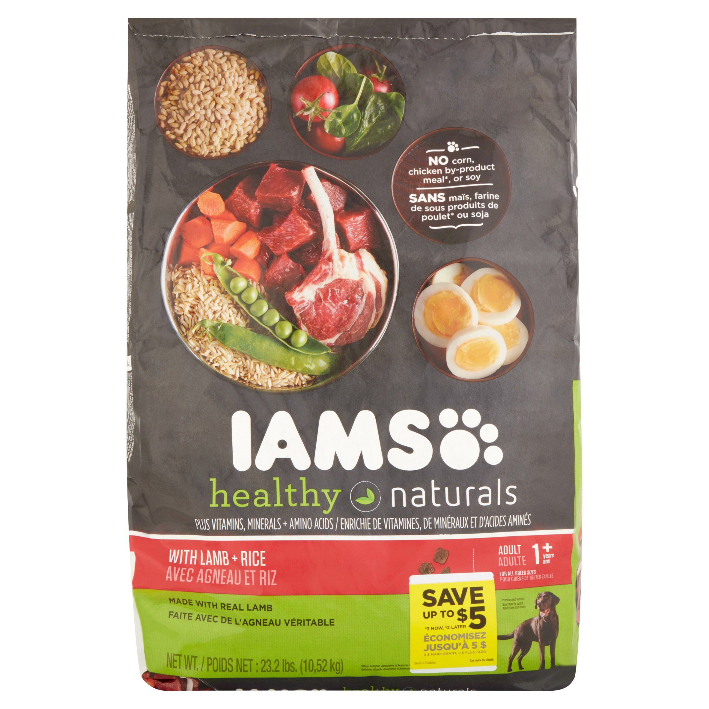 Iams Healthy Naturals With Lamb + Rice Premium Dog Nutrition Adult 1+ Years, 23.2 Lbs
