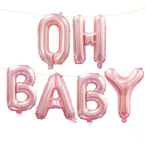 Small Baby Boy or Girl Alphabet Letters Balloons Foil Balloons Mylar Balloons for Party Decoration Pink Baby Girl