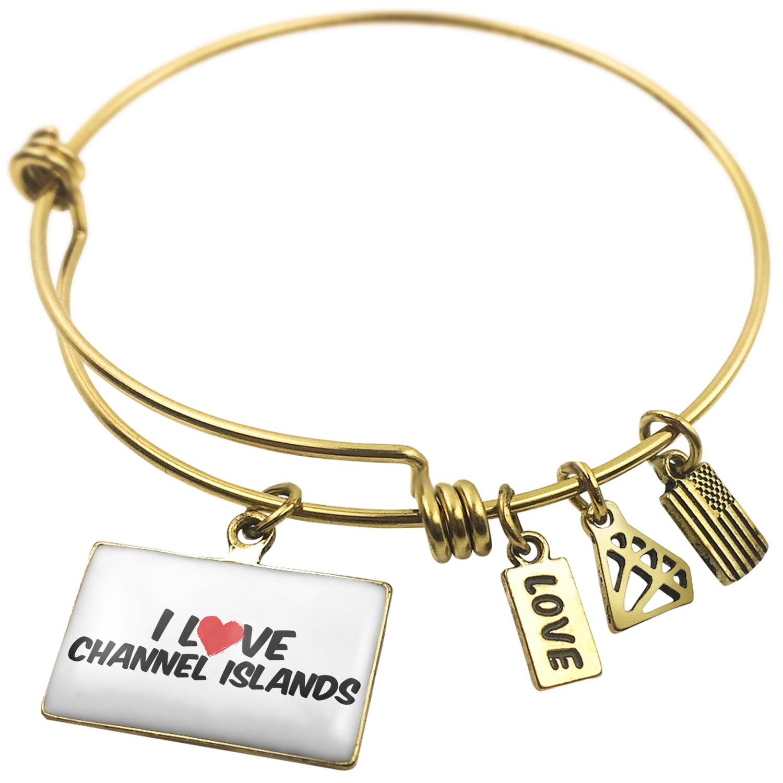 Expandable Wire Bangle Bracelet I Love Channel Islands - NEONBLOND
