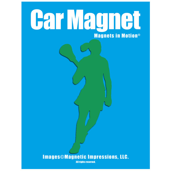 Lacrosse Female Player Pose 2 Car Magnet Chrome