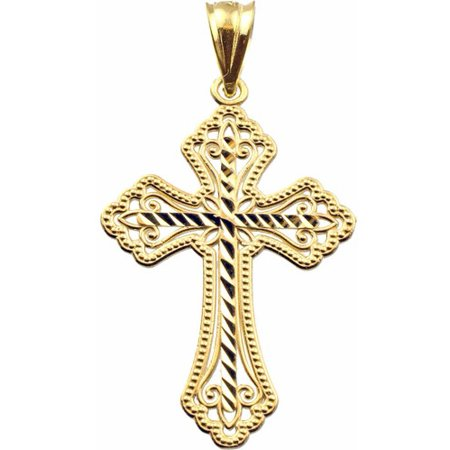 - Handcrafted 10kt Yellow Gold Diamond-Cut Cross Charm Pendant