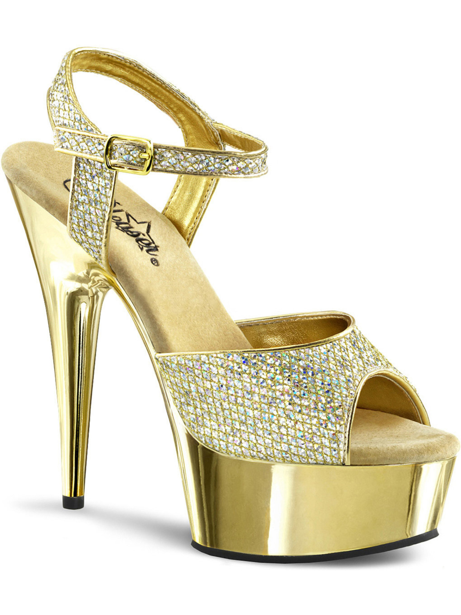 Womens Gorgeous 6'' Gold Glitter Platform Heels Dress Shoes with Ankle Strap