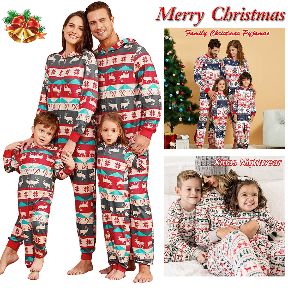 Details about  /Family Matching Set Adults Kids Baby Christmas Pyjamas Xmas Nightwear Pajamas US