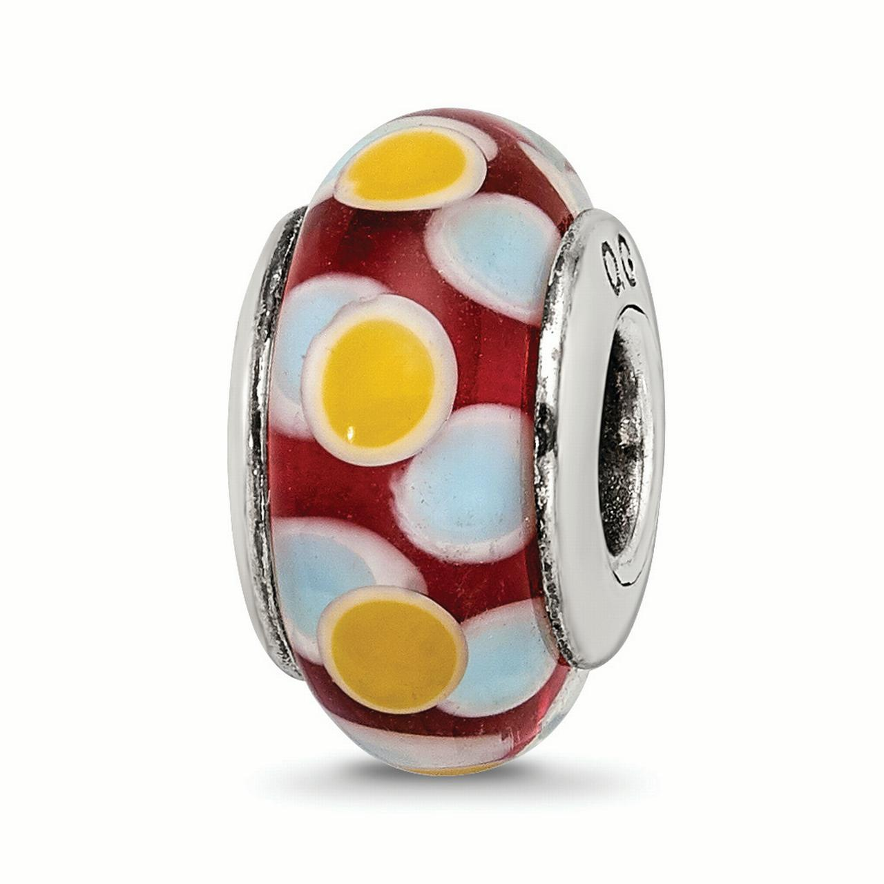 925 Sterling Silver Charm For Bracelet Red//white Hand Blown Glass Bead Glas H Fine Jewelry Gifts For Women For Her