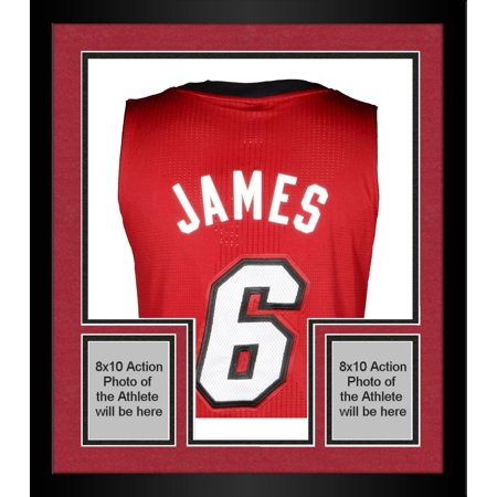ec8110dfc Framed LeBron James Miami Heat Autographed adidas Authentic Red ...