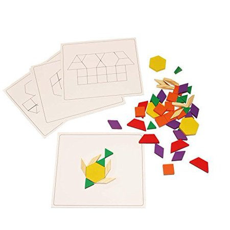 Dazzling Toys Wooden Blocks and Board Set, Pattern Boards Included. Set Contains 120 Wooden Blocks Great Party - Pattern Blocks