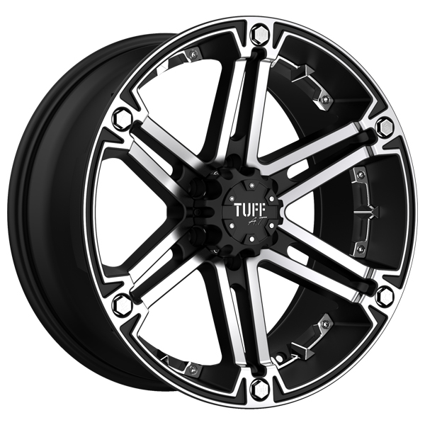 "Tuff-Luv T01 Flat Black with Machined Face Wheel with Machined Finish (17x8""/5x5.5"", +10 Offset)"