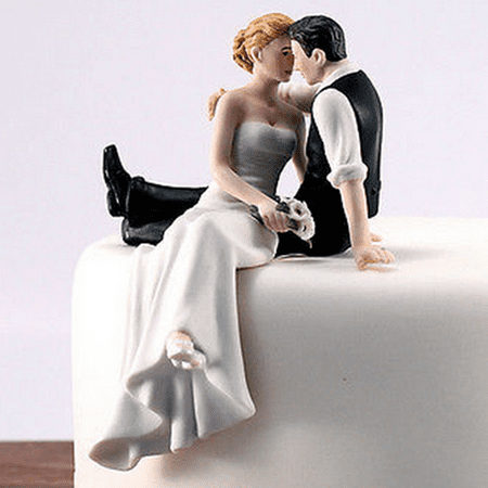 Romantic Bride and Groom Wedding Cake Topper Couple Hug Kiss Bridal Decoration  Hand Painted Porcelain Cake Topper (Bride and Groom on -