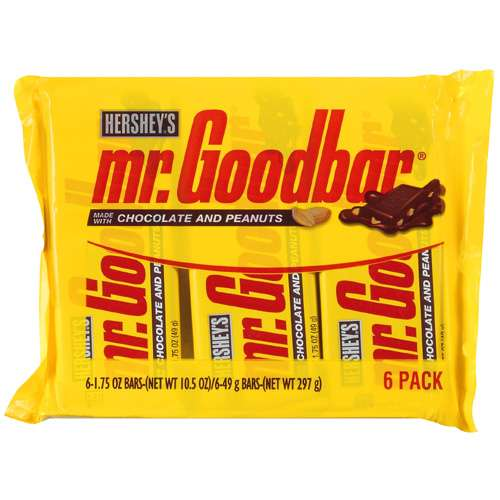 Hershey's Mr. Goodbar Made w/Peanuts Chocolate, 6 Ct