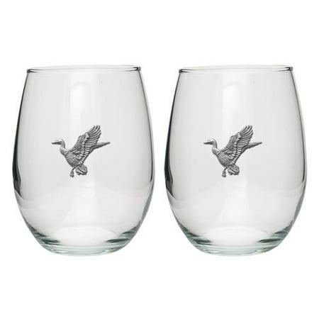 Glass Set Anaheim Ducks - Mallard Ducks Stemless Goblets (Set of 2)