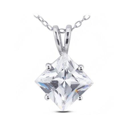 Ideal Cut Radiant Diamond (0.83 CT D-SI1 Ideal Radiant Genuine Diamond 18k Gold Prong Classic Pendant 5.2mm)