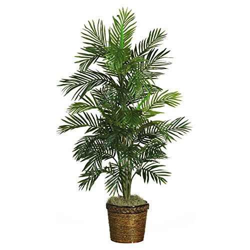 Nearly Natural 4.5 ft. Areca Palm Silk Tree with Basket