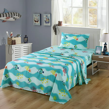 MarCielo Bed Sheets for Kids Twin Sheets for Kids Girls Boys Teens Children Sheets Soft Fitted Flat Printed Sheet Pillowcase Kids Bedding Bunk Beds Set 277Fish Sheet(Twin)