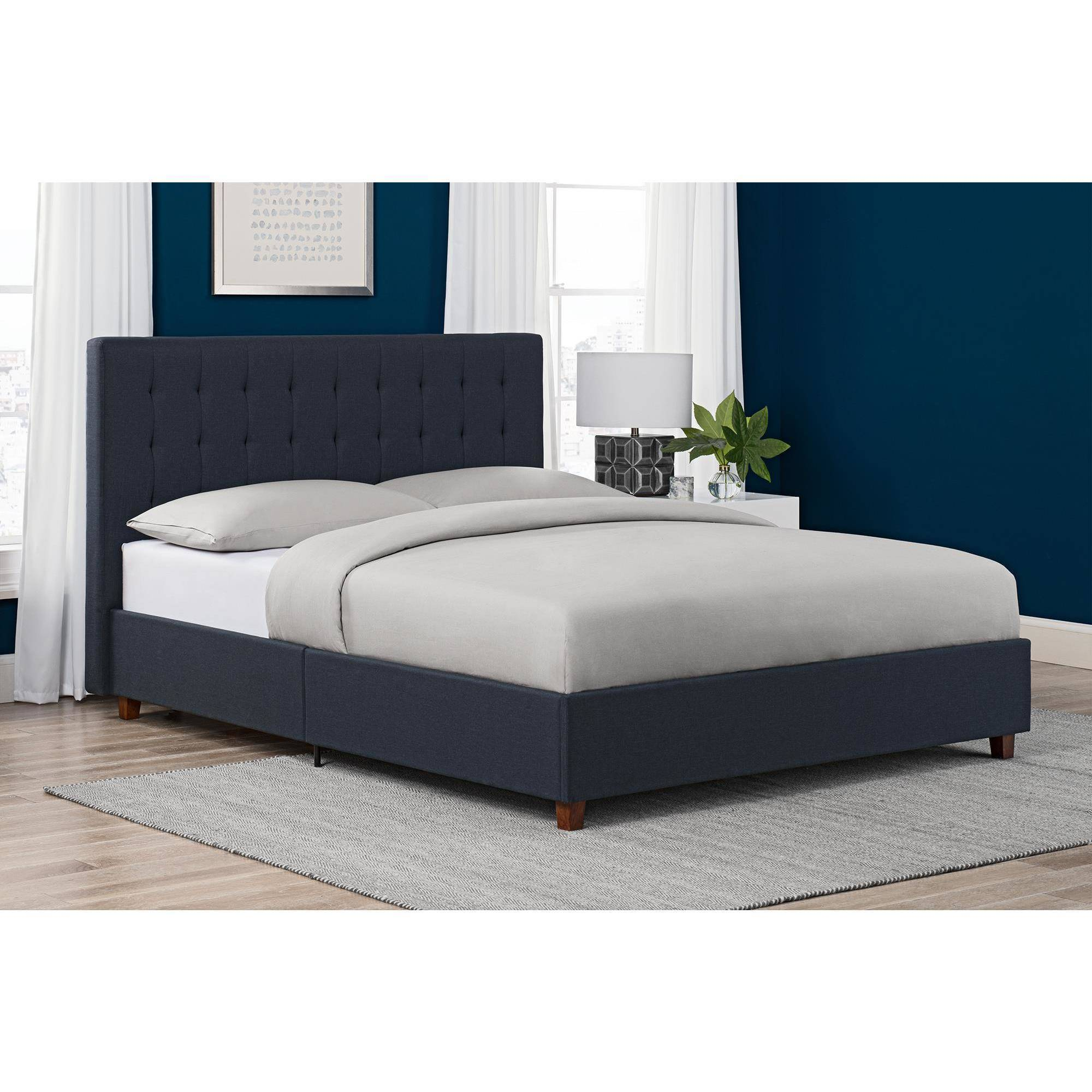 DHP Emily Upholstered Linen Platform Bed with Wooden Slat Support, Tufted Headboard, Multiple Sizes and Colors